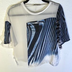 Zara W/B Collection Sheer Top Size Small